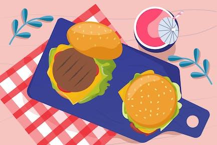 Launch & Burger Illustration