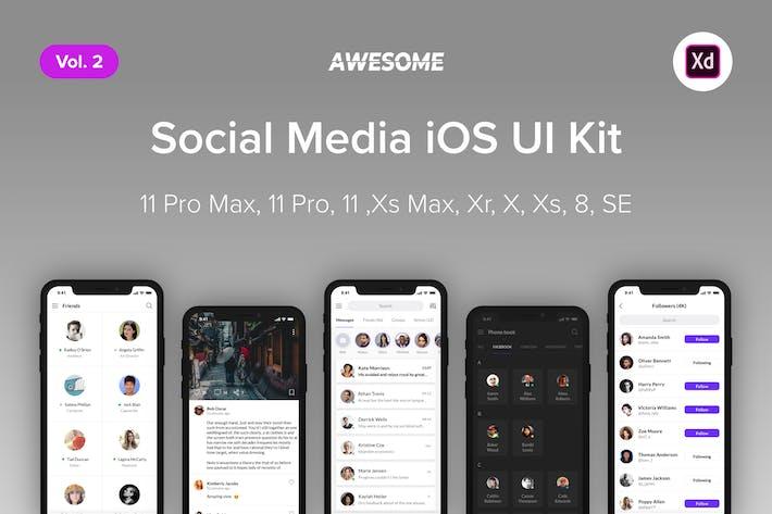 Thumbnail for Awesome iOS UI Kit -Social Media Vol. 2 (Adobe XD)