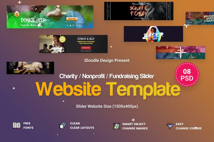 Thumbnail for Charity / Nonprofit / Fundraising Sliders - 08 PSD
