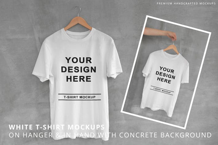 Thumbnail for White T-Shirt on Hanger with Concrete Background