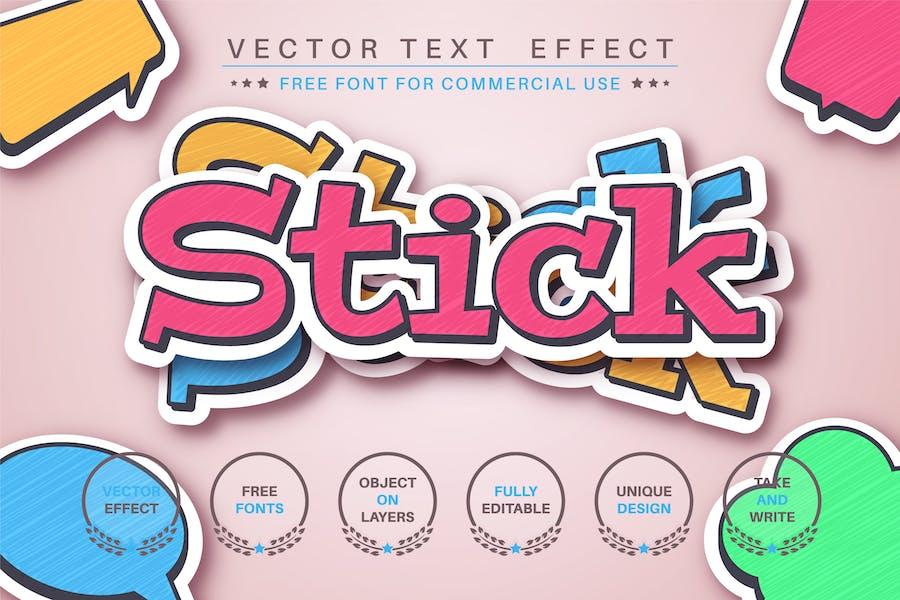 Set sticker - editable text effect, font style