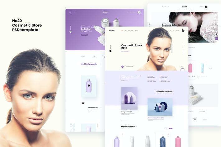 Thumbnail for Ne20 - Cosmetic store Ecommerce PSD template