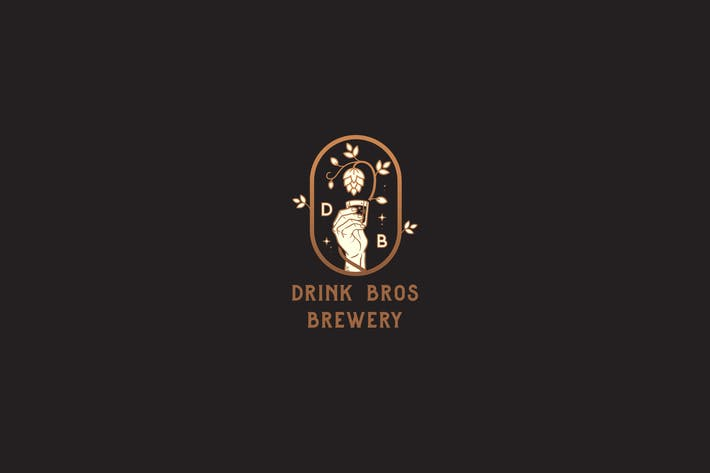Thumbnail for Drink Bros Brewery Badge vintage Logo Template