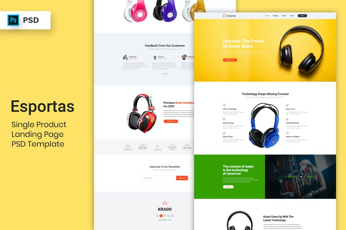 Thumbnail for Single Product - Landing Page PSD Template