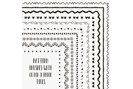 Seamless pattern brushes collection.