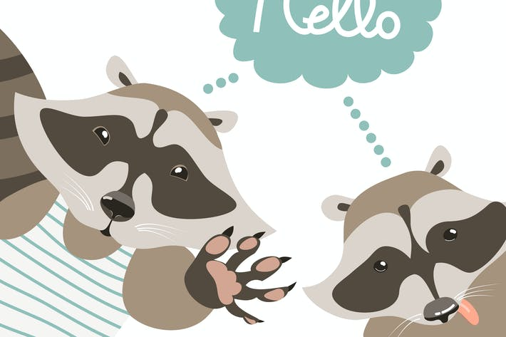 Thumbnail for Vector cartoon characters, funny raccoons