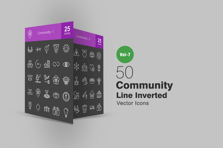 Cover Image For 50 Community Line Inverted Icons