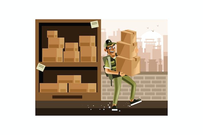 Cover Image For Man Carrying Boxes In Warehouse