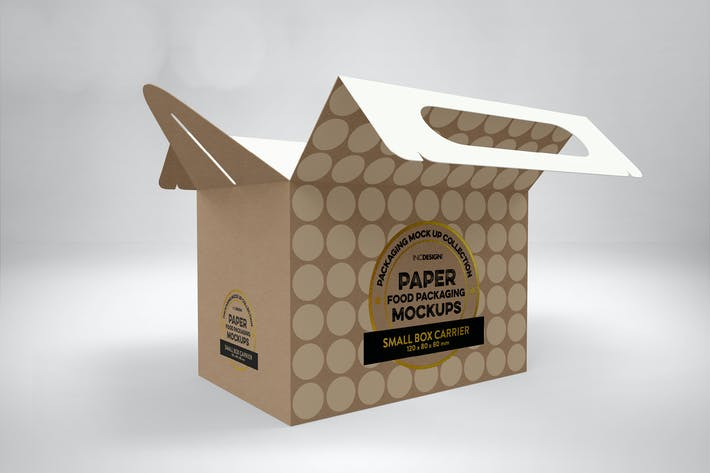 Cover Image For Small Cake Box Carrier Packaging Mockup