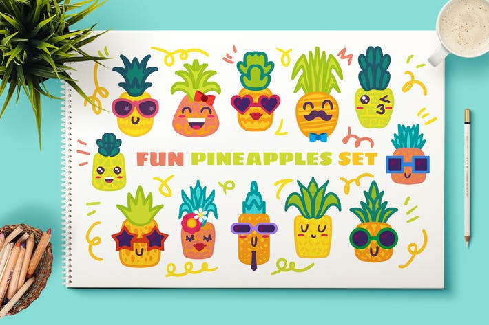 Thumbnail for Fun Pineapple Charscters Set