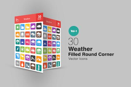 30 Wetter gefüllt Runde Ecke Icons