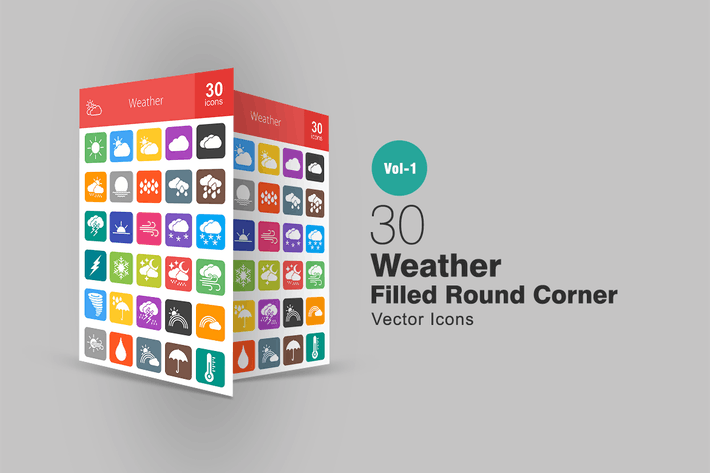 Thumbnail for 30 Weather Filled Round Corner Icons