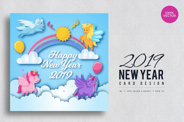 Thumbnail for Cute Pony Theme Happy New Year 2019 Vector Card