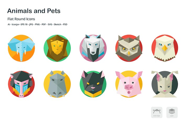 Thumbnail for Animals and Pets Flat Round Icons