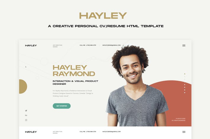 Thumbnail for HAILEY - Creative Personal CV/Resume HTML Template