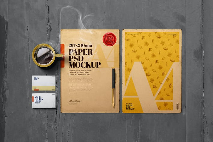 Thumbnail for Vintage A4 Paper Mockup Business Card Wax Seal