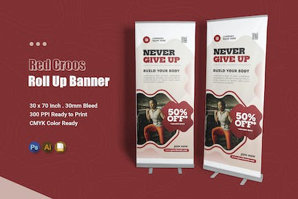 Red Cross - Roll Up Banner