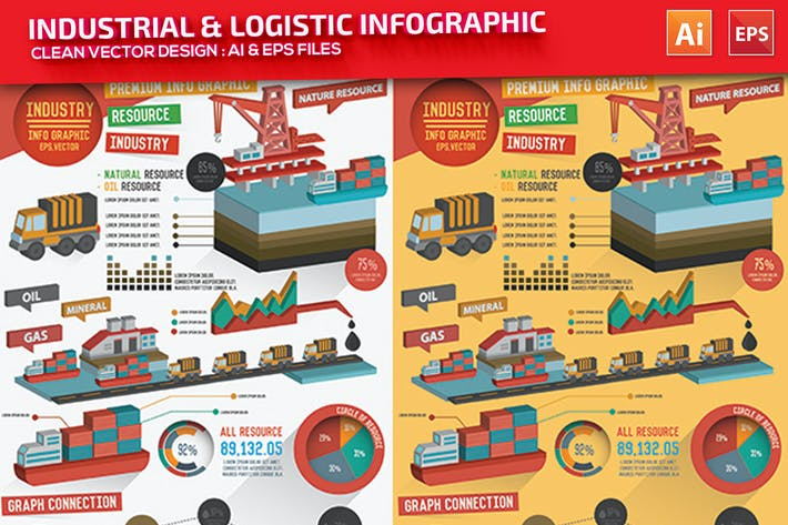 Thumbnail for Industry & Logistic Infographic Design