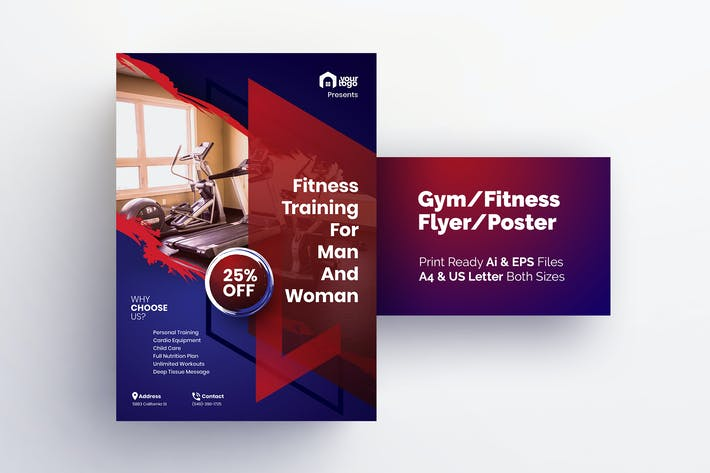 Thumbnail for Fitness Training for Men & Women - Gym Flyer