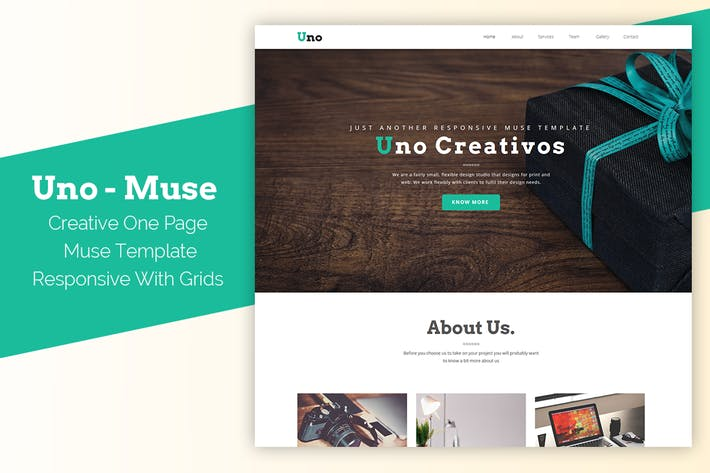 Thumbnail for Uno - Responsive One Page Muse Template