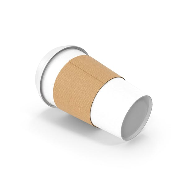 White Paper Cup with Cover Side