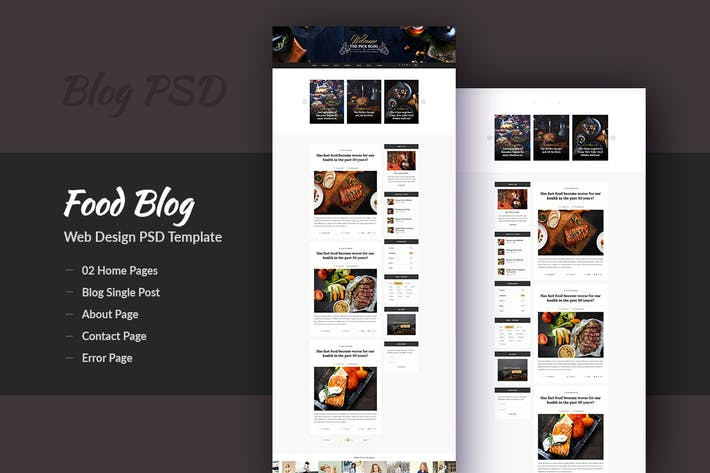 Thumbnail for Pick - Creative Food Blog Design PSD Template