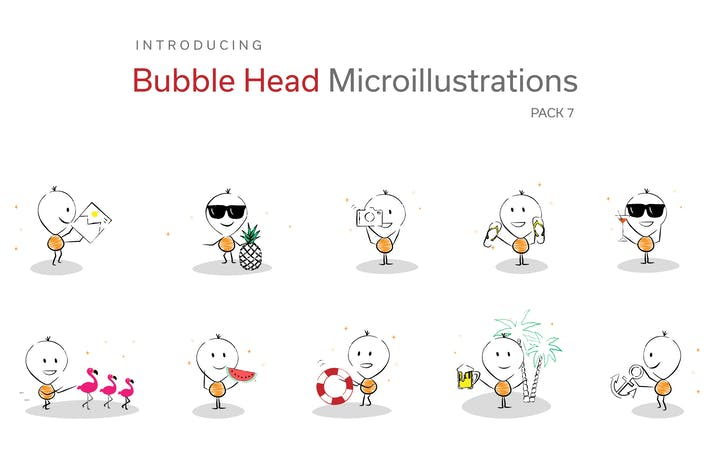 Thumbnail for Bubble Head Micro Illustrations - Summer Holiday