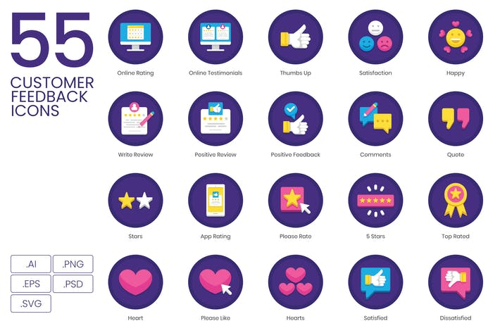 Thumbnail for 55 Kundenfeedback Icons - Orchid Series