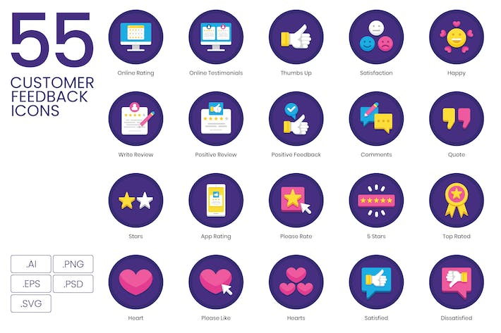 Thumbnail for 55 Customer Feedback Icons - Orchid Series