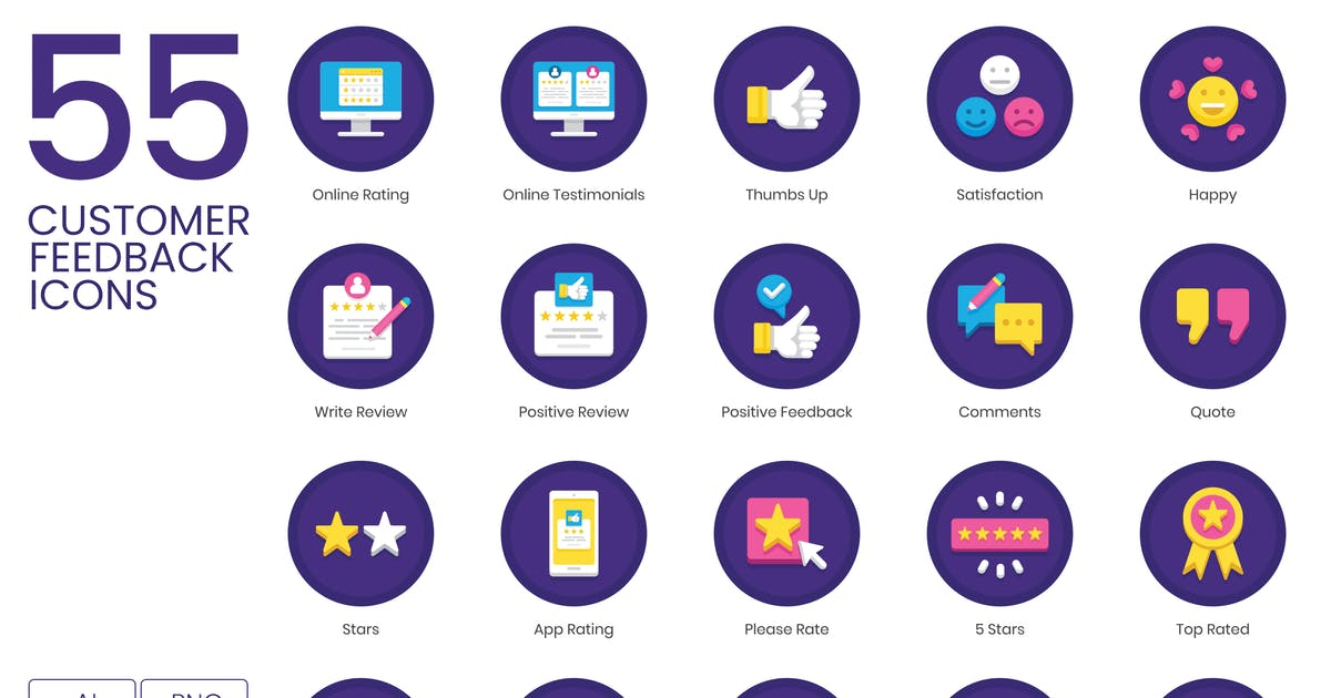 Download 55 Customer Feedback Icons - Orchid Series by Krafted