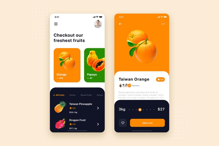 Thumbnail for Fruits Store Mobile App UI Kit Template