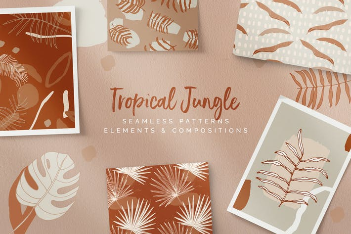 Thumbnail for Tropical Jungle Patterns & Elements