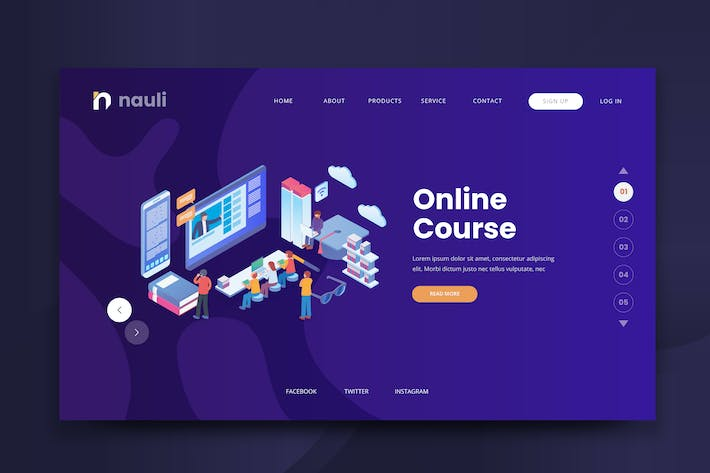 Thumbnail for Isometric Online Course Web PSD and AI Vector