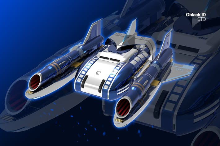 Blue Jet Spaceship