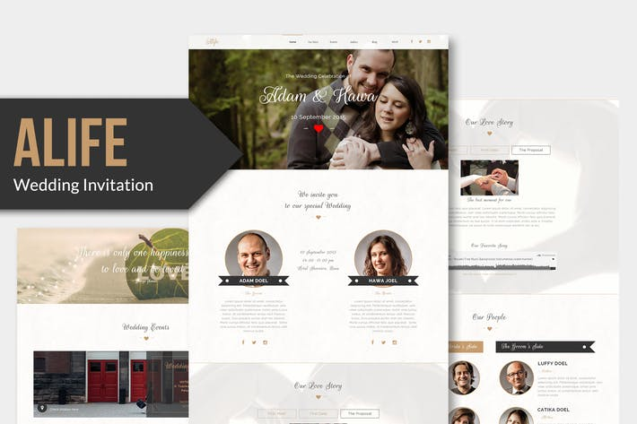 Thumbnail for Alife - Wedding Invitation Muse Template