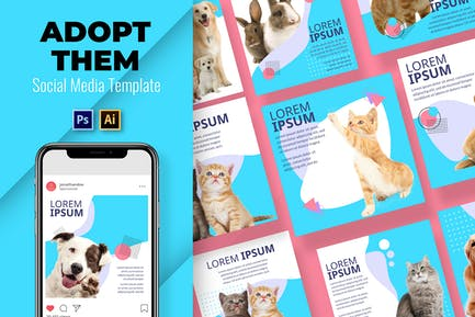 Adoptieren Haustier Social Media-Vorlage