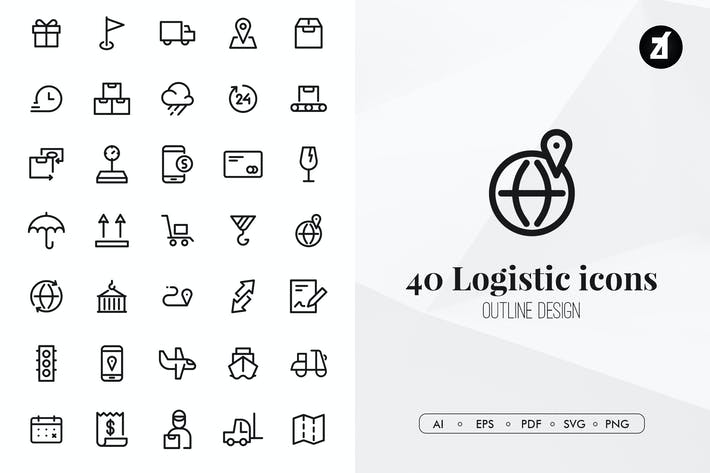 Thumbnail for 40 Logistic elements in minimal design