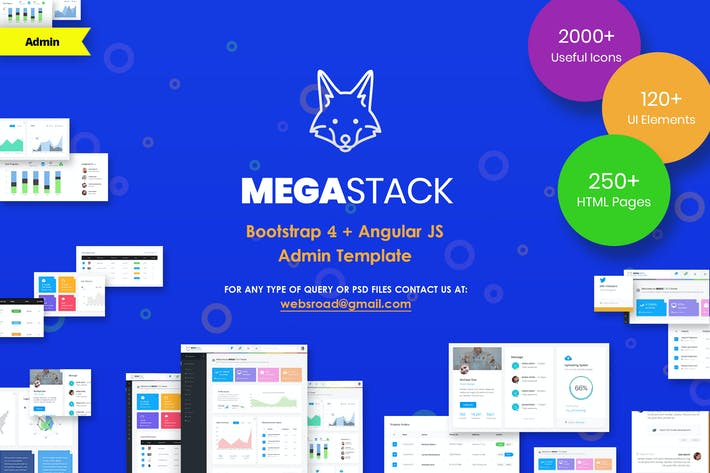 Thumbnail for MegaStack - Bootstrap 4 & Angular JS Admin Panel