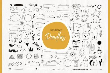 Elementos de garabatos dibujados a mano