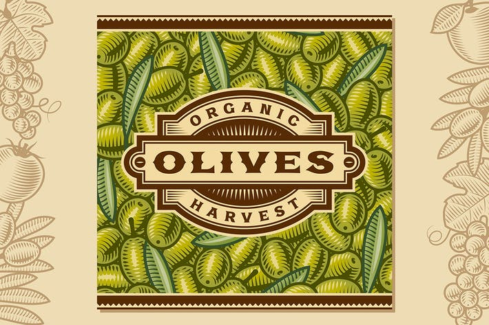 Thumbnail for Retro Olive Harvest Label