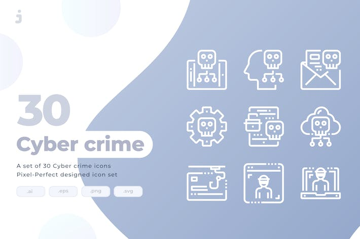 Thumbnail for 30 Cyber crime Icons
