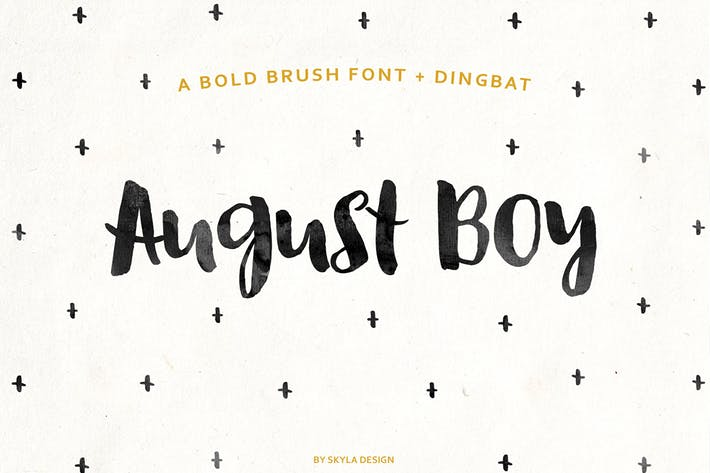 Thumbnail for August Boy Bold brush font + Dingbat
