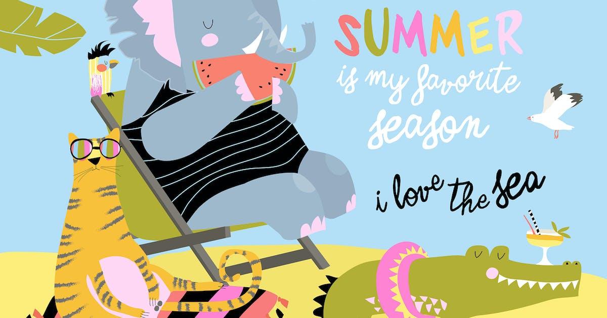 Download Cute cartoon animals sunbathing on beach. Hello by masastarus