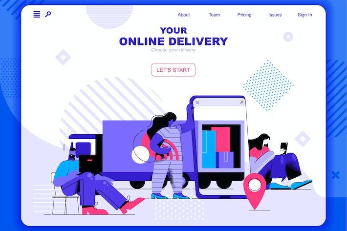 Online Delivery Flat Concept Landing Page Header