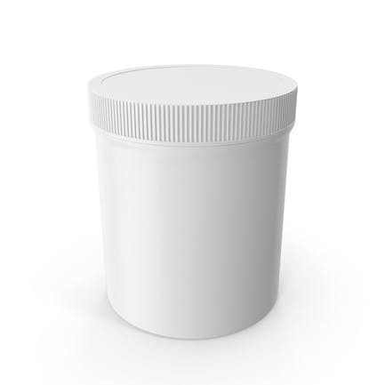 White Plastic Jar Wide Mouth Straight Sided 16oz Closed