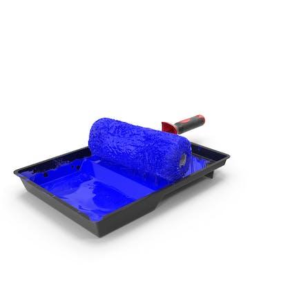 Rodillo de pintura usado con bandeja