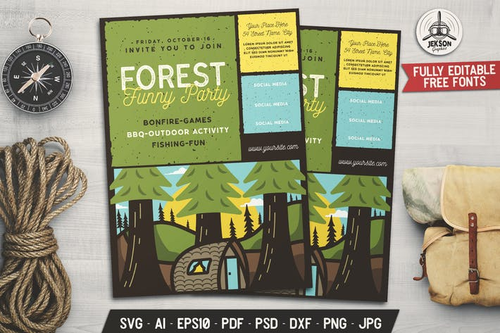 Forest Party Camp Flyer