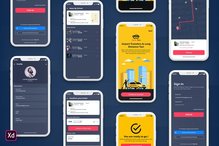 Thumbnail for Taxi Booking Mobile App UI Kit Dark Version (XD)