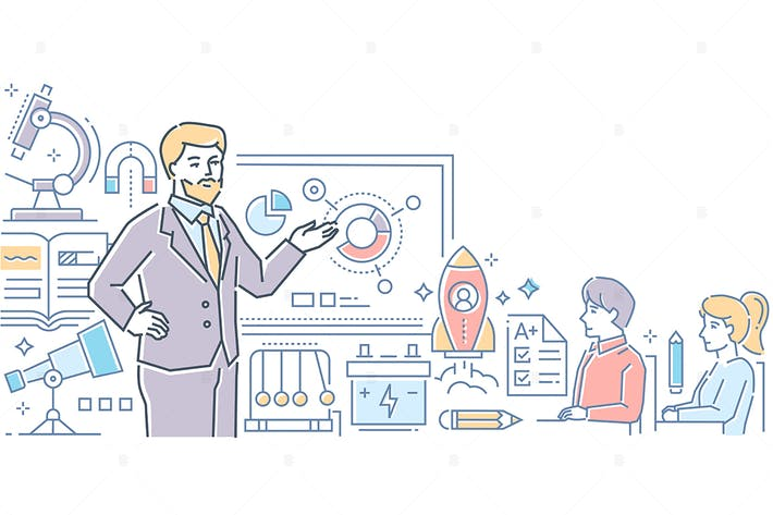 Thumbnail for Physics Lesson - line design style illustration
