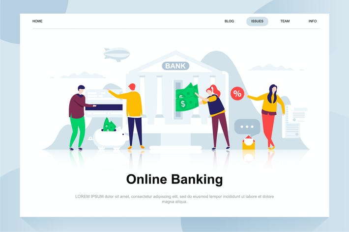 Cover Image For Online Banking Flat Concept